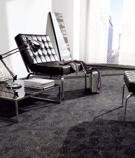 Moderní černý koberec Infloor / Modern black carpet, Boca Praha http://www.bocapraha.cz/cs/produkt/28/contur-06/