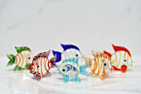 Glass Fish Set Of 6 Fish Figurines Fish Tank by FestivalReGlass