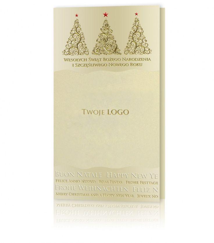 Kartka świąteczna B 651: Perłowy, złoty papier. Złote, białe i czerwone nadruki, nabite mieniącą się folią. Oryginalna kartka z życzeniami, na której widnieją trzy rodzaje choinek.