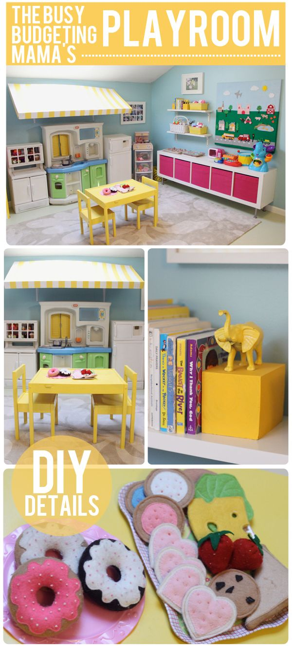 Our Playroom Reveal – DIY Details  Storage Solutions!  I love the awning for the play kitchen. | The Busy Budgeting Mama
