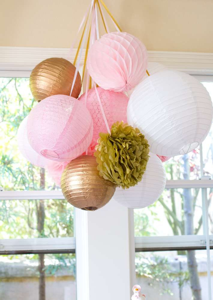 Pretty paper lantern decorations at a Mother Goose party! See more party planning ideas at CatchMyParty.com!