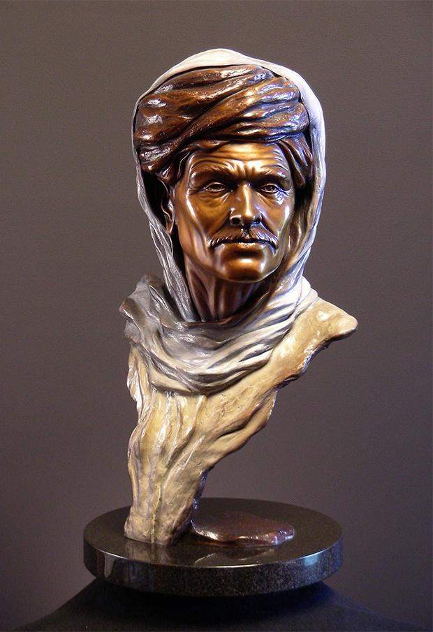 """Distant Journey"", in a multiple patina; a figurative fine art bronze sculpture representing the quest of man, by Steven Knight. Find this and more beautiful fine art at www.artbyknight.com"