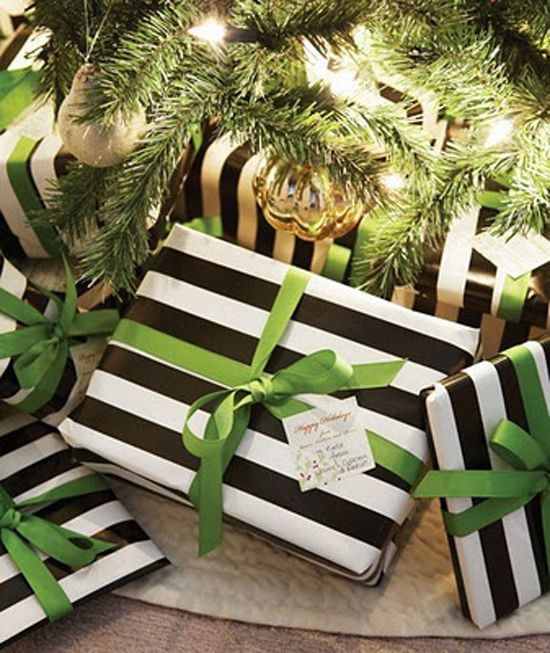 Black, white and green presents.