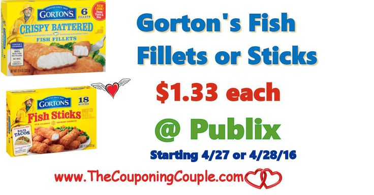 Gorton's Fish Fillet or Sticks $1.33 @ Publix   Gorton's Fish Fillet or Sticks $1.33 @ Publix [adrotate banner = '65']Gorton's Fish Fillet or Sticks $1.33 @ Publix. In the new Publix Weekly Ad from 4-28 to 5-04-16 (4/27-5/3 for some) Gorton's Fish Fillets or Sticks, Assorted Varieties, 6.3-11.4 oz, is on sale...  Click the link below to get all of the details ► http://www.thecouponingcouple.com/gortons-fish-fillet-or-sticks-1-33-publix/ #C
