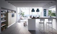Gicinque cucina moderna in legno e vetro. Chi desidera una cucina in legno, ma senza rinunciare ad una cucina moderna, c'è Joy di Gicinque cucine, modello della collezione cucine moderne che unisce il calore del legno ad un design contemporaneo. Le cucine modello Joy si caratterizzano per geometrie rettangolari e contenimenti proporzionati. La cucina Joy di Gicinque è disponibile in 9 finiture legno e colori. Le ante in legno (noce, larice, rovere) possono essere abbinate alle ante in vet...