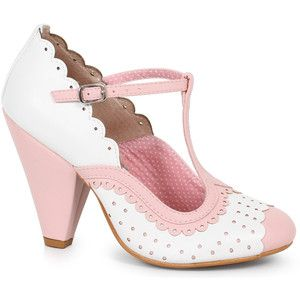 Ellie Bettie Page White & Light Pink Leatherette Spectator Paige T-Strap Heels Shoes