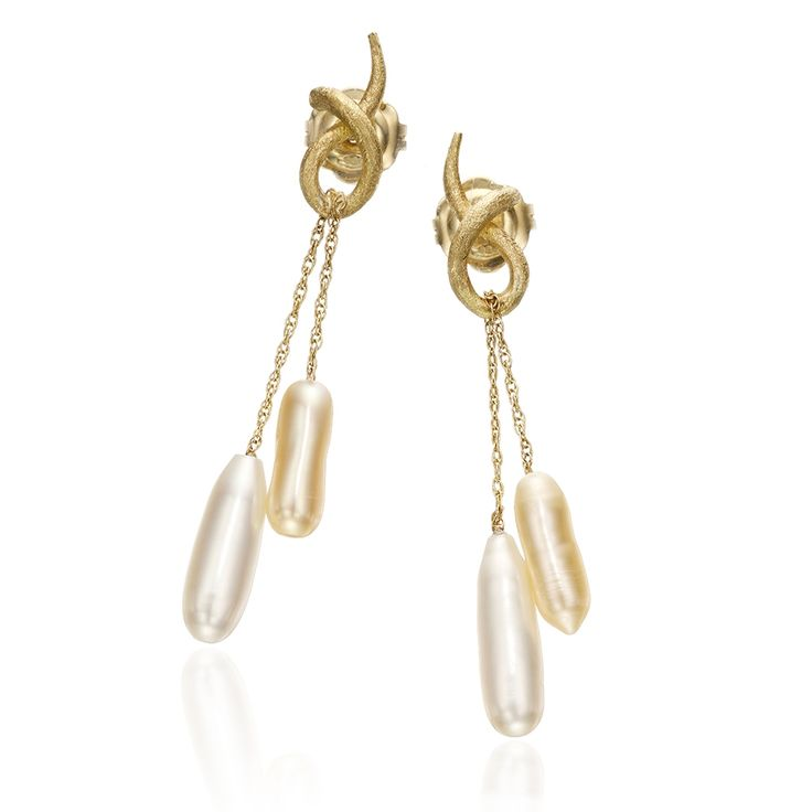 Modify: top gold twists as separate earrings with interchangeable pearls on gold chain (Yvel)