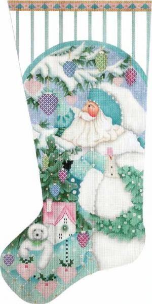 Melissa Shirley Designs   Hand Painted Needlepoint   Winter White Santa Sock