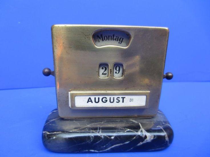 Ewiger Kalender Drehkalender für Schreibtisch Jacob Maul Bauhaus Messing onyx