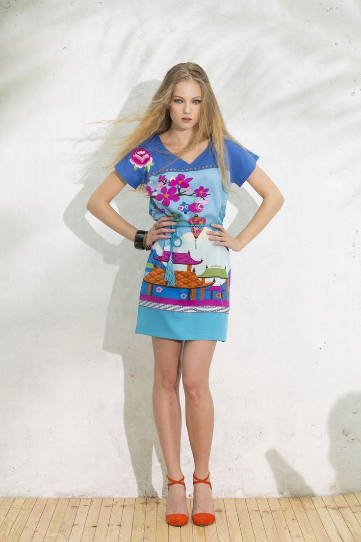 Vestido Zapata #originalprintdress #estampadoasiatico #vestidoazul #dress