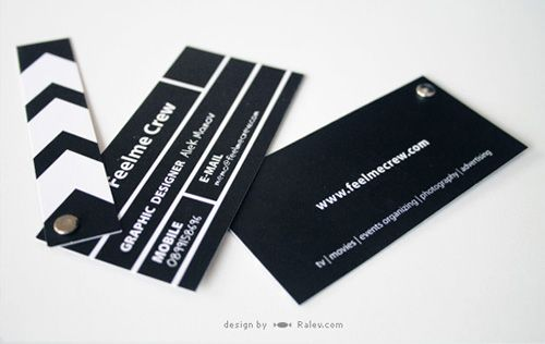 This creative business card in the shape of a clapper board was designed by Ralev.com for Bulgarian multimedia agency Feelme Crew.