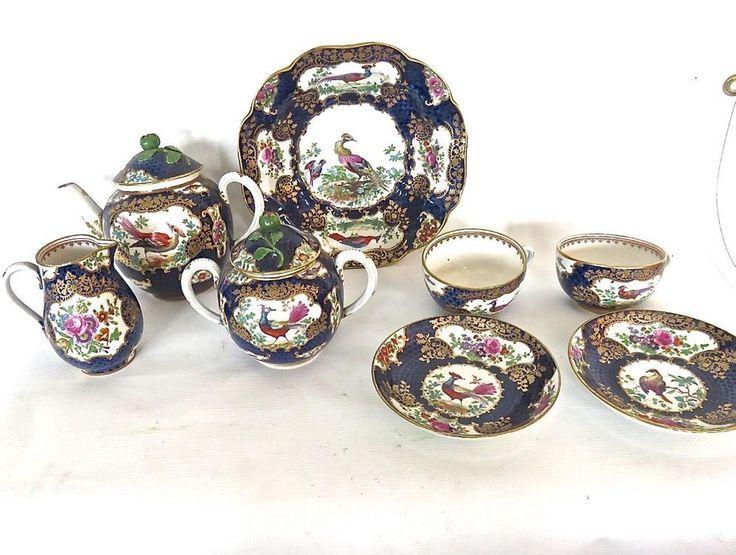 English C1900 Exotic Bird Cobalt Blue Scale Booths Tea Set Circa NoRes
