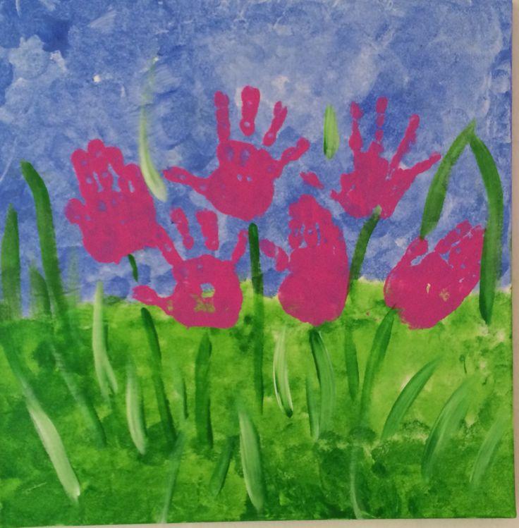 Hand painting tulips