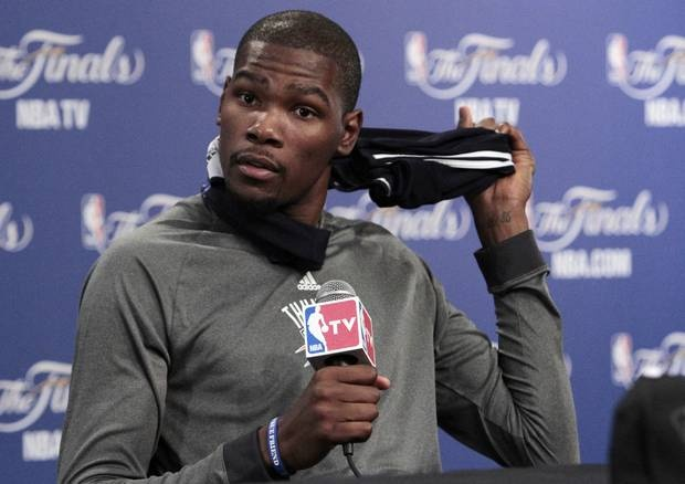 CHESAPEAKE ENERGY ARENA / OKLAHOMA CITY THUNDER / MIAMI HEAT / NBA FINALS / NBA BASKETBALL: Oklahoma City Thunder's Kevin Durant speaks with the media after practice in preparation for game two of the NBA basketball finals at the Chesapeake Arena on Wednesday, June 13, 2012 in Oklahoma City, Okla.  Photo by Steve Sisney, The Oklahoman