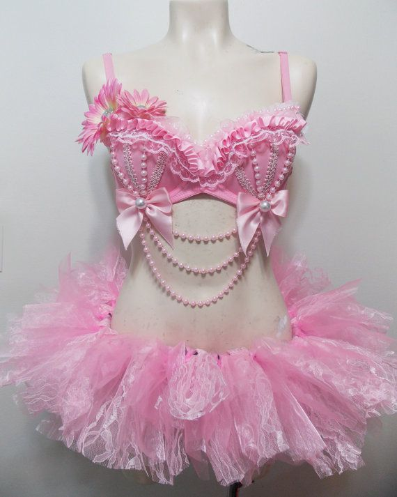 Pretty In Pink- Pink Rave Bra, Pearls Ruffles With Matching Tutu $120.00