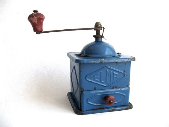 Antique Spanish Grinder Blue ELMA Coffee Mill by Lunartics on Etsy