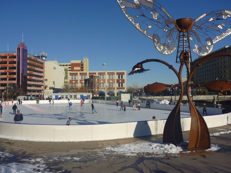 Winter fun in Reno, Nevada: Rink on the River at Virginia Plaza