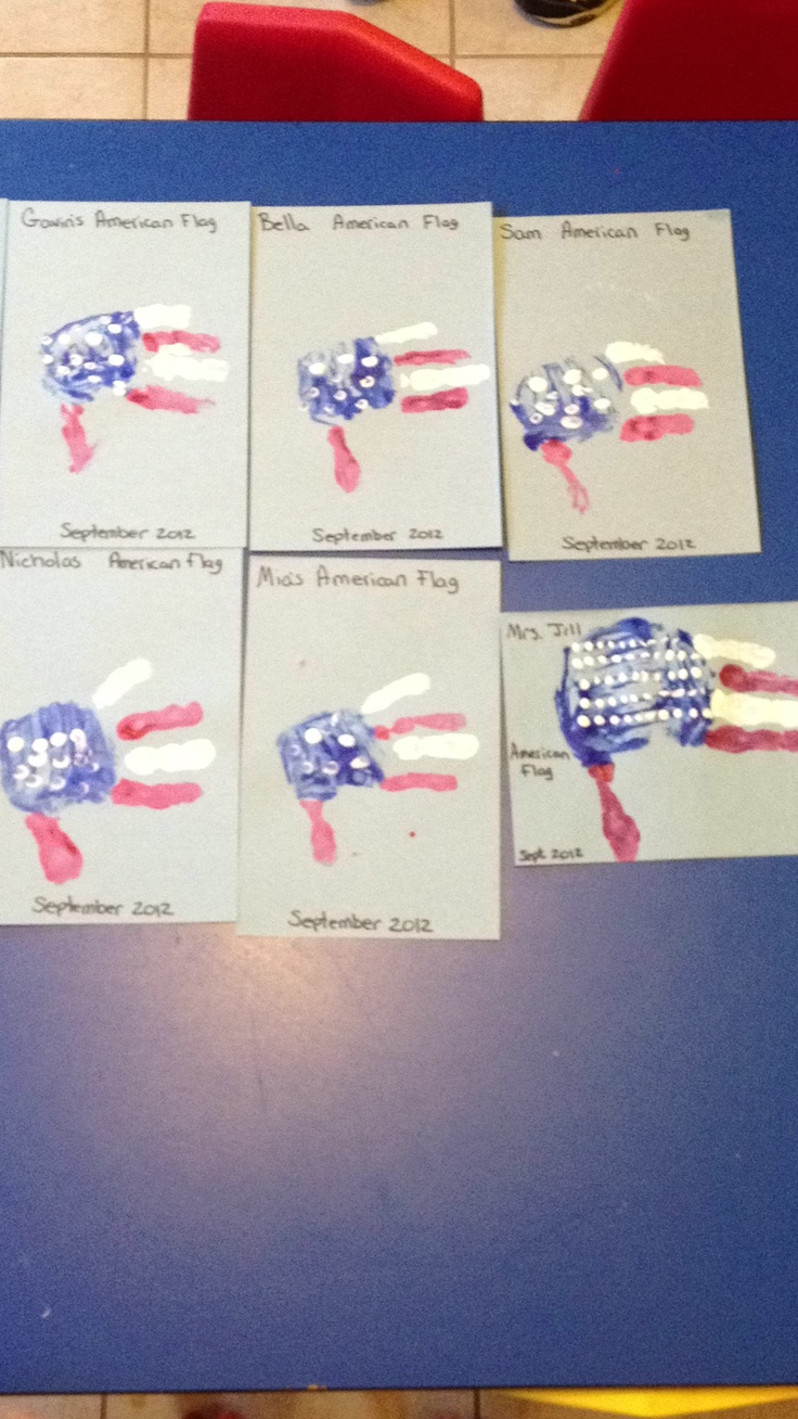 Handprint American Flags I Can T Take Credit For The Idea