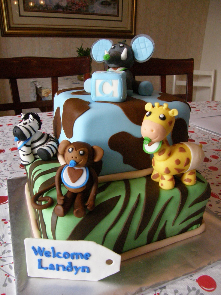 Animal print baby shower cake