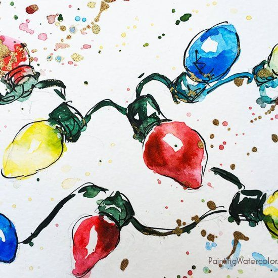 Retro Lights starts our Christmas Cards off with a fun and easy watercolor painting! Only 9 minutes for this beginner watercolor!
