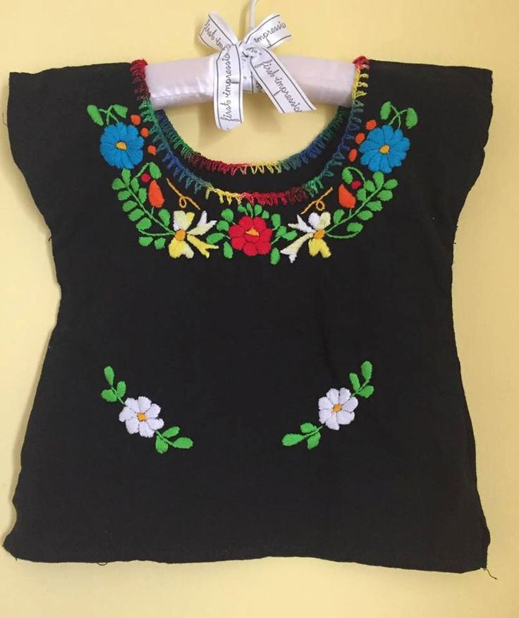 Baby mexican blouse embroidered flowers black blouse  top fashion mexican party frida kahlo traditional day of the dead cinco de mayo by Miamorcitocorazon on Etsy