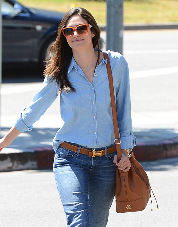 emmy rossum classic look via purseblog includes tory