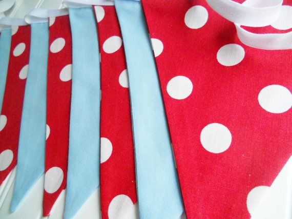 Red Aqua Blue Bunting/Fabric Bunting by MariaClaireInteriors