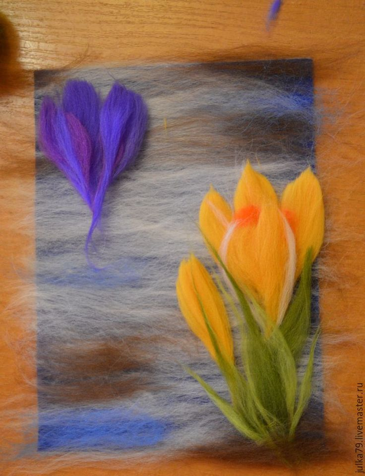 Создаем картинку из шерсти «Крокусы» - Ярмарка Мастеров - ручная работа, handmade