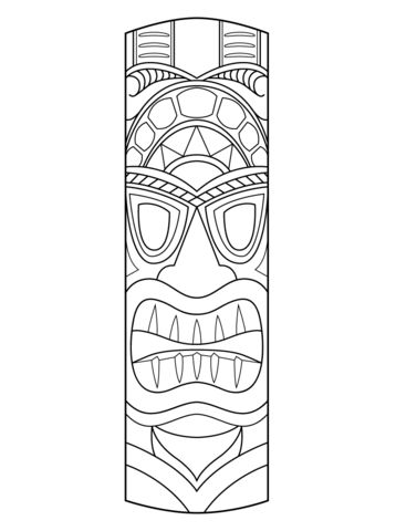Tiki Mask coloring page from Masks category. Select from 22454 ...