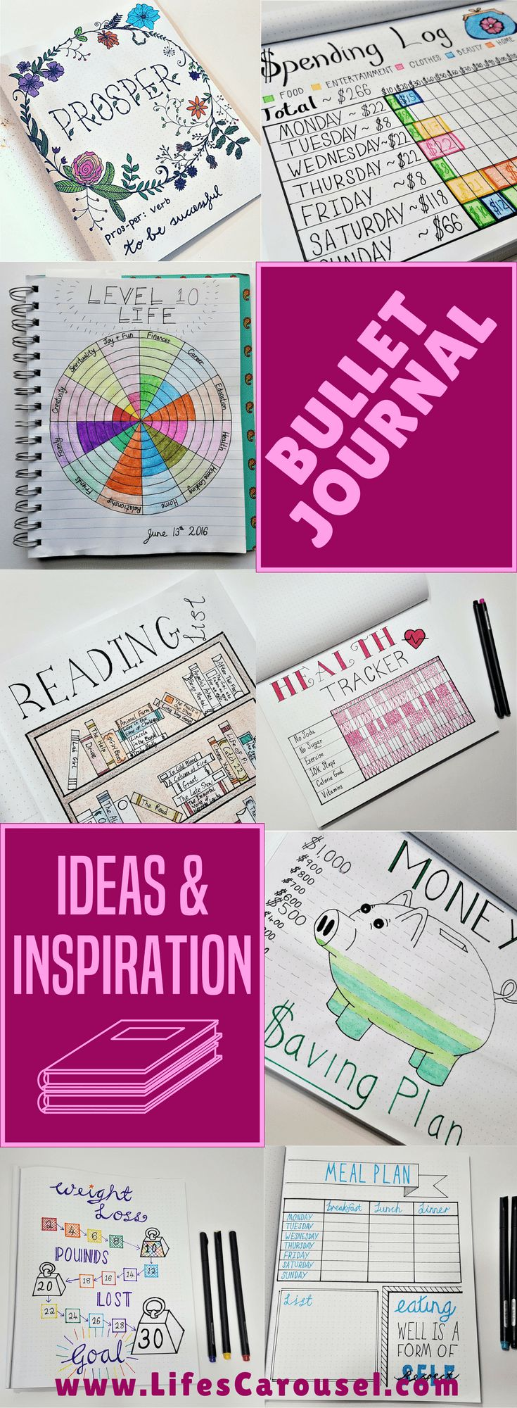 Bullet Journal Ideas   Ideas & inspiration for your Bullet Journal. Layout ideas, how to start a bujo, spreads, tracker, pages and more