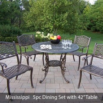 Mississippi Cast Aluminum 42 Inch table  5pc Dining Set  Only  1 424 00  FREE Shipping 215 best Patio Furniture images on Pinterest   Outdoor cushions  . Outdoor Dining Chairs Only. Home Design Ideas
