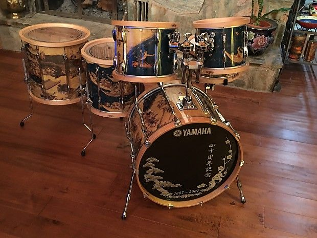 This is a very rare Limited Edition Yamaha 40th Anniversary Washi 6 Piece Drum Kit Commemorating Yamaha's Drum Manufacturing and Celebrating Japans very colorful Past. One of the Rarest Drum Kits in the world, Yamaha's 40TH Anniversary Washi 6 Piece Drum Kit. This is one of only 40 kits ever prod...