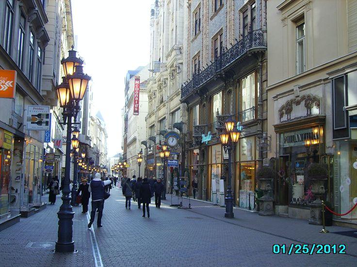Váci utca, Budapest in the winter
