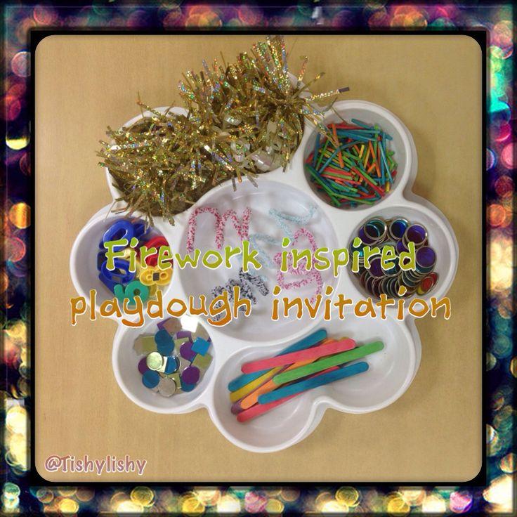 Firework inspired playdough tray