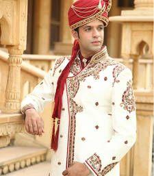 Buy white premium silk brocade embroidered resham tikki sherwani sherwani online
