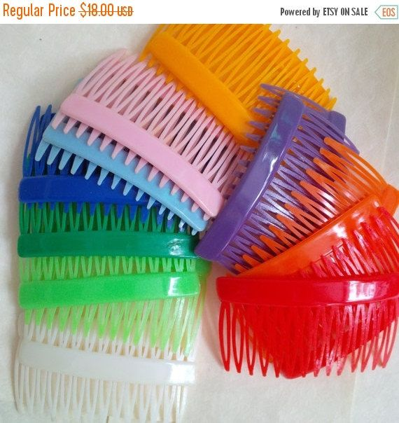 50% OFF SALE Vintage colorful haricomb  10 pairs hair by bila