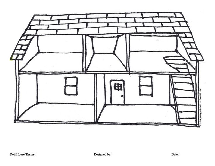 doll house coloring page background for paper doll play - Houses To Colour In
