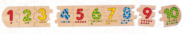 help your child to learn to count with this GOKI Number Puzzle. Consisting of ten chunky wooden puzzle pieces, each decorated with both a colourful number and appropriate dots to aid numeracy skills.