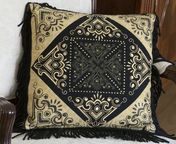 Janome Free Quilting Patterns : This pillow has been upgraded using embroidery and crystals. This design was executed using the ...