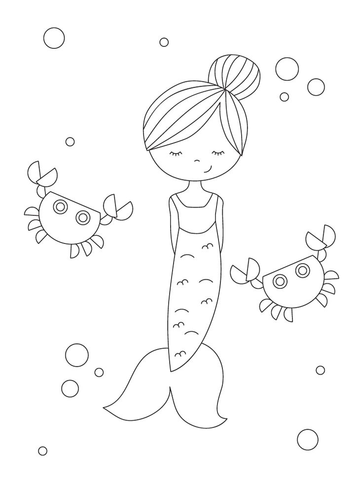 10 Too-Cute Mermaid Coloring Pages in 2020 | Mermaid ...