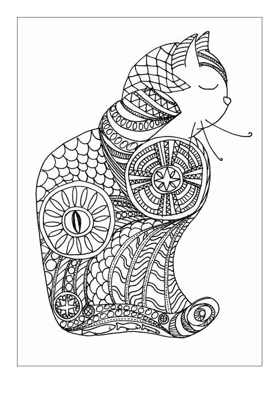 Zentangle cat colouring page by