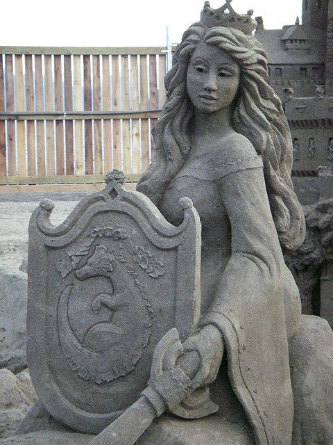 Princess with shield and sword Sand Sculpture