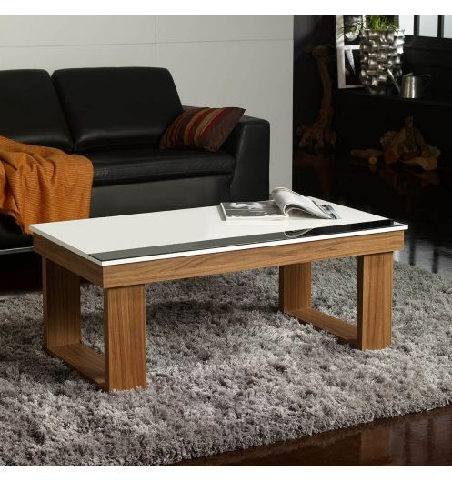 table basse relevable plateau blanc et pied bois tables. Black Bedroom Furniture Sets. Home Design Ideas
