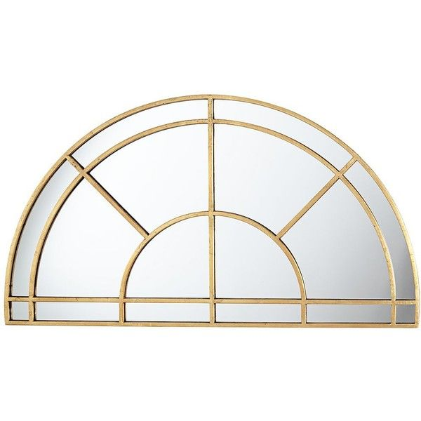 "Uttermost Aurelie Gold 47 3/4"" x 26 1/2"" Half Circle Wall Mirror (340 CAD) ❤ liked on Polyvore featuring home, home decor, mirrors, uttermost wall mirrors, gold home accessories, window wall mirror, uttermost mirrors and uttermost home decor"
