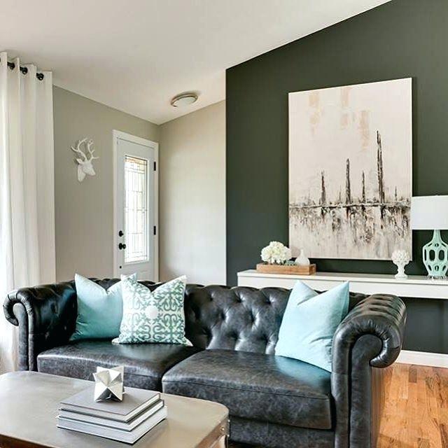 Image Result For Black Leather Sofa Living Room Ideas Living Room Turquoise Turquoise Living Room Colors Living Room Inspiration Grey