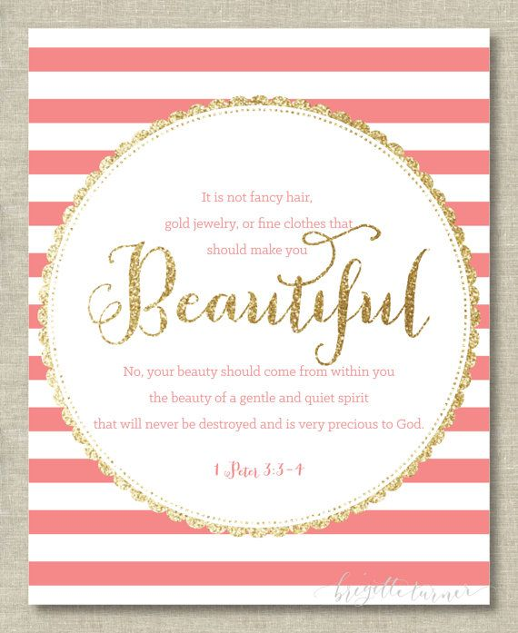 Bible Verse Wall Art Print | Girl | It is not fancy hair, gold jewelry, or fine clothes that should make you beautiful... | 1 Peter 3: 3-4 | asanda