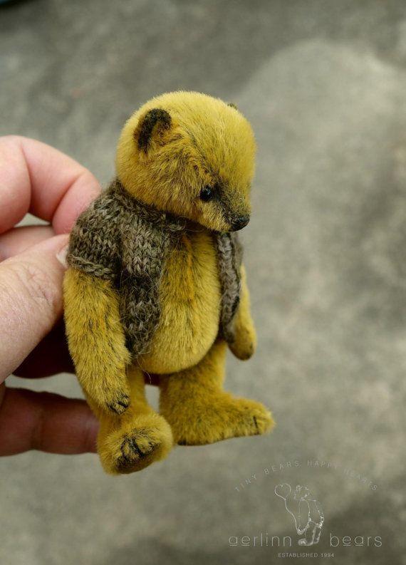Bearling Miniature 3 3/4 Artist Teddy Bear by by aerlinnbears
