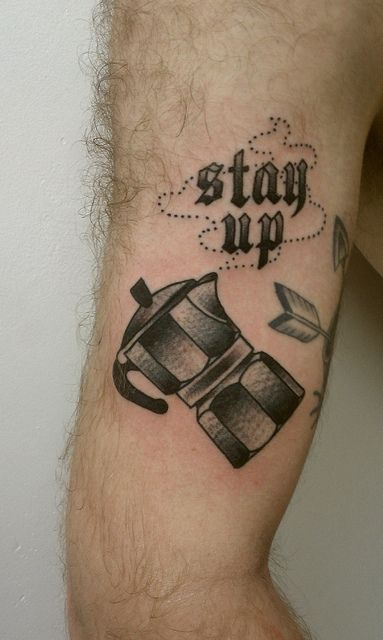 Coffee tattoo. Artist: ?. #neotraditional