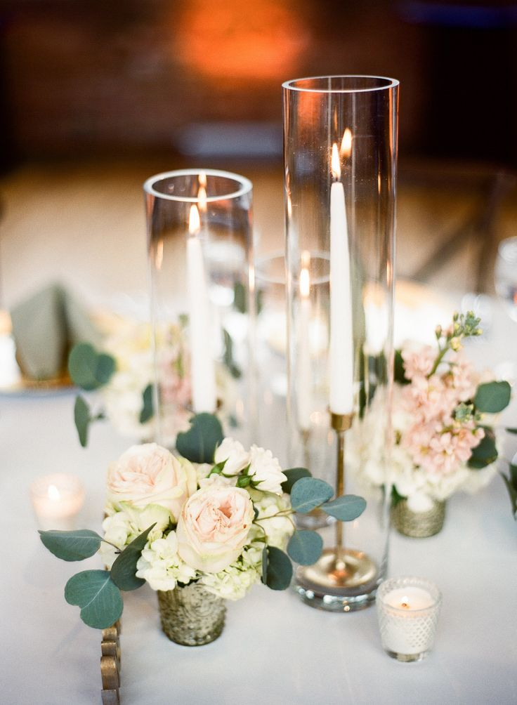 {{Candle details at blush and white spring wedding at Bridgeport Art Center Skyline Loft.}} Photography by Britta Marie Photography http://brittamariephotography.com/    Flowers by Pollen, pollenfloraldesign.com