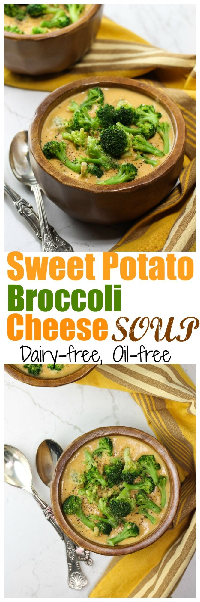 Broccoli Cheese Soup with a twist of sweet potatoes and an amazing unexpected ingredient! This has a wonderful sweet potato-ish and cheesy-ish flavor. So creamy and delicious, yet so healthy. Dairy-free and oil-free!